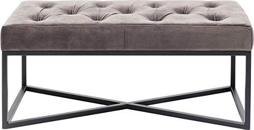 Kare Design Bank Crossover Grau Schwarz, zierliche Bank mit Kreuzgestell in Schwarz, graue Sitzfläche mit Knöpfen, Samtoptik, verschiedene Ausführungen erhältlich, (H/B/T) 40x90x40cm