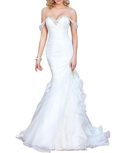 Off the Shoulder Organza Sleeves Wedding Dress