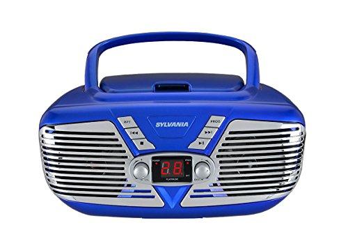 Sylvania Portable CD Boombox with AM FM Radio, Retro Style, (Blue)