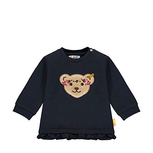Steiff Baby-Mädchen mit süßer Teddybärapplikation Sweatshirt, Navy, 080