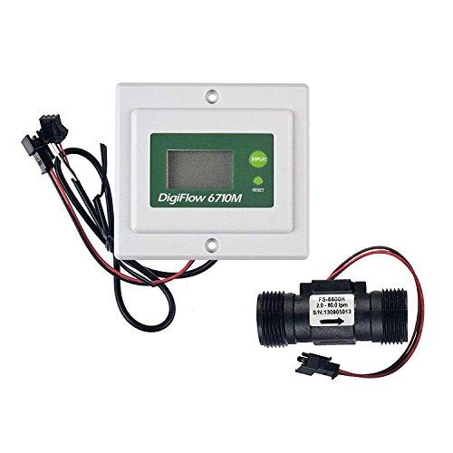 VYAIR DigiFlow 6710M-66TM Mini débitmètre numérique monté sur panneau 2,4 à 60 litres et débitmètre avec connexions mâles BSP 1,9 cm