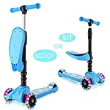 WeSkate Scooters for Kids Toddler with Seat, 2-in-1 Kid 3 Wheel Light UP Kick...
