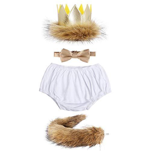 Disfraz de cumpleaños para bebé niño, con pantalones cortos + corona de peluche + cola de peluche + corbata + 4 piezas Diseño 2 talla única