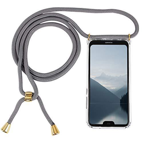 Imikoko Handykette Hülle für Huawei P20 Lite Necklace Hülle mit Kordel zum Umhängen Silikon Handy Schutzhülle mit Band - Schnur mit Case zum umhängen (Grau)