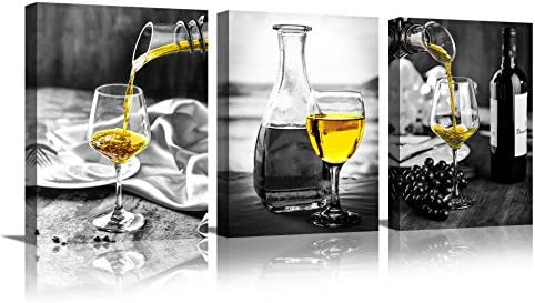 Kitchen Wall Art for Dining Room Wine Painting Artwork Poster Black White Canvas yellow Wine product image
