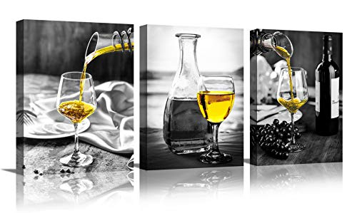 Kitchen Wall Art for Dining Room,Wine Painting Artwork Poster Black White Canvas yellow Wine In Cups Pictures For Home Decorations