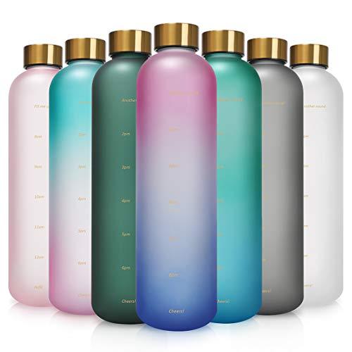 Opard Trinkflasche, 1L Wasserflasche, Auslaufsichere Water Bottle, BPA Frei Sportflasche Zeitmarkierung Wasser Flasche (Pink Lila)