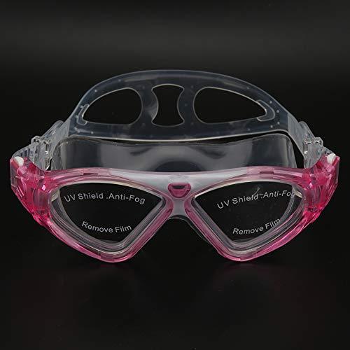 Jarchii Schwimmbrille, großer Rahmen Anti-Fog Professionelle Schwimmbrille Schnorcheln Sportschwimmbrille für Erwachsene(Pink, One Size)