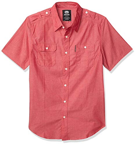 Ecko UNLTD Men's Solid City Short Sleeve Woven, Red Chambray, X-Large