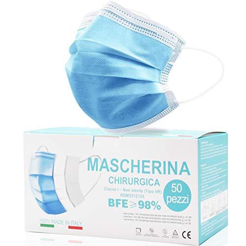 Rhino Valley Mascherine Chirurgiche, Mascherina chirurgica, MADE IN ITALY Monouso Certificate - Mascherina A 3 Strati (Confezione Da 50 Pezzi) Magazzino Italiano Consegna 24 48 ore- CERTIFICATA CE