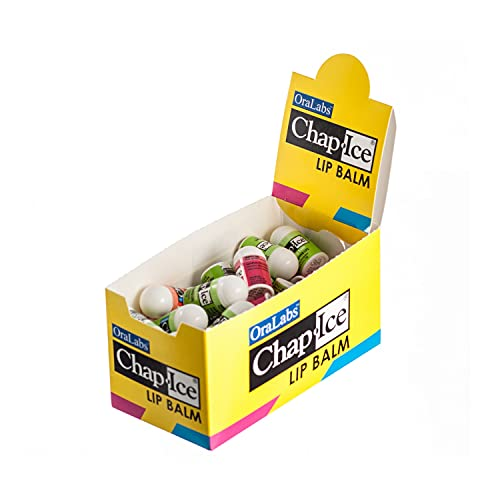 Chap-Ice | Premium and Traditional Lip Balm for Chapped, Dry, or Windburned Lips | Pocket Size Display with Assorted Flavors - Cherry, Citrus Orange, Kiwi Lime - 50 Mini Sticks (0.10oz/3g)