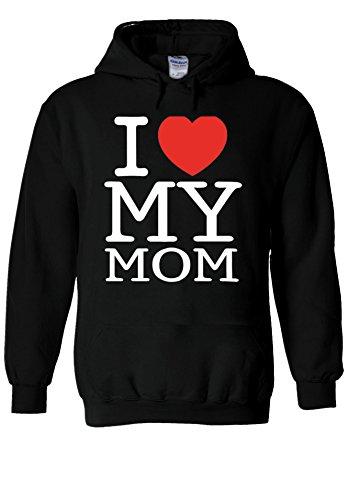 NisabellaLTD Mothers Day I Love My Mom Heart Novelty Black Men Women Unisex Hooded Sweatshirt Hoodie-XL