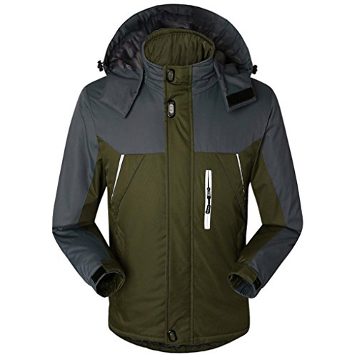 HHORD Ski Jacket épaissi Chaud Respirant laminé Masculine HoodieWaterproof Automne Chaud et Alpinisme Hivernal Doudoune Coton, XL