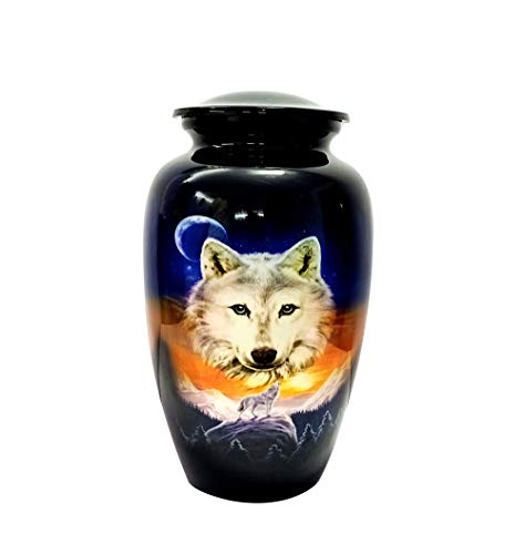 "CUERO URNS Lovely Wolf Blue Cremation Urn for Human Ashes - Adult Funeral Urn Handcrafted - Affordable Urn for Ashes (Adult (200 lbs) – 10.5 x 6 "", Lovely Wolf Blue Cremation Urn)"