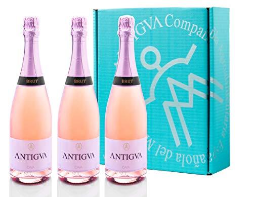 ANTIGVA Brut Rosé - Cava Brut Rosado - Vino espumoso D.O. Cava - Alt Penedés - Caja de 3 Botellas x 750 ml