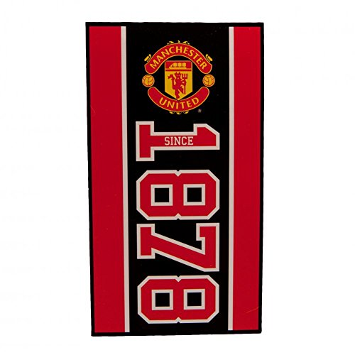 Manchester United FC - Toalla Modelo Established in 1878 del Club (Tamaño Único) (Negro/Rojo/Dorado)