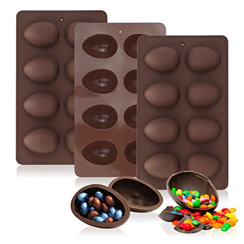 Easter Egg Shaped Silicone Baking Mold, Non Stick Egg Chocolate Candy Molds, Silicone Egg Mold for Easter Day DIY Candy Chocolate Jelly Fondant Making Soap Making (3 PCS)