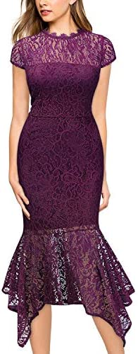 Miusol Women s Elegant Floral Lace Slim Evening Party Dress Magenta product image