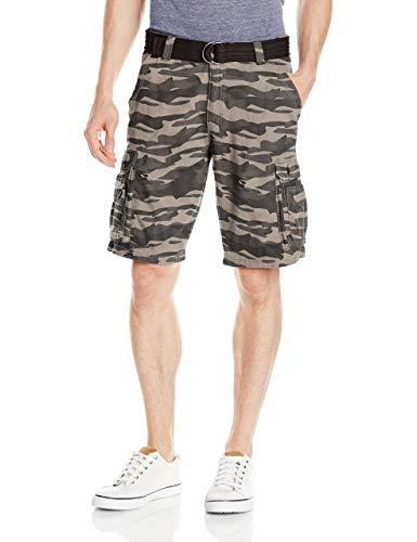 Lee Men's Big and Tall New Belted Wyoming Cargo Short, Carbon Camo, 46W