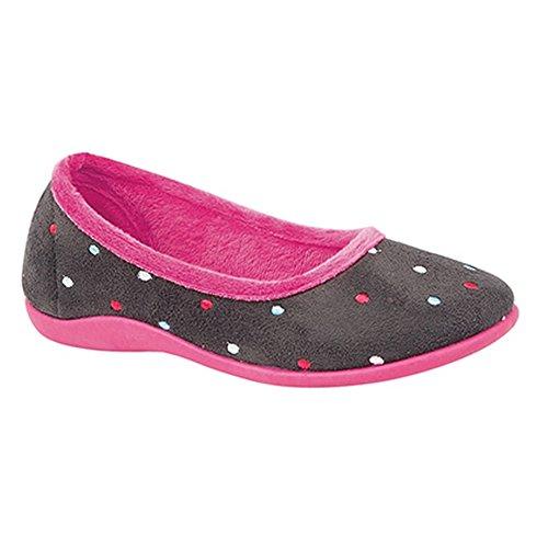 Sleepers - Zapatillas de Estar por casa Modelo Isla Dotted con duela de Memory Foam para Mujer (38 EU/Gris/Fucsia)