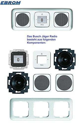 Busch Jäger Unterputz UP Bluetooth Radio 8217 U (8217U) Reflex SI alpinweiß Komplett-Set // Radioeinheit + 2 x Lautsprecher + 3-fach Rahmen 2513-214 + Abdeckungen
