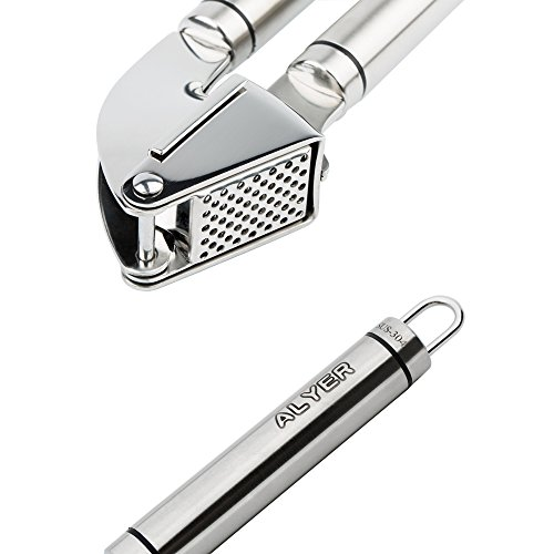 ALYER SUS304 Stainless Steel Garlic Press with Free Upgraded Silicone Garlic Peeler and Mirror Stainless Steel Scraping Spoon