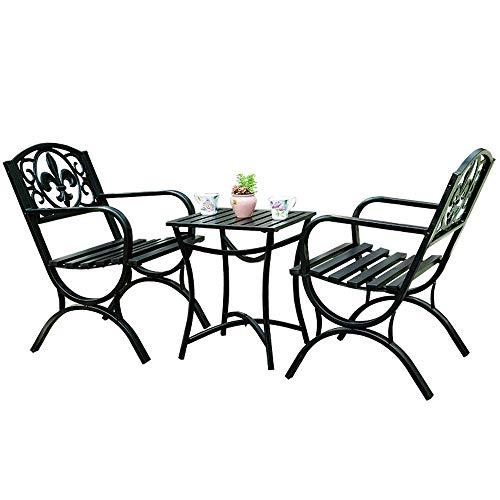 Set da 3 pezzi di mobili da ristorante per tavolo e sedie da giardino, 2 sedie da giardino e Tavolo quadrato antiruggine metallo, esterno pratoCombinazione di tavolo e sedia per tutte le stagioni