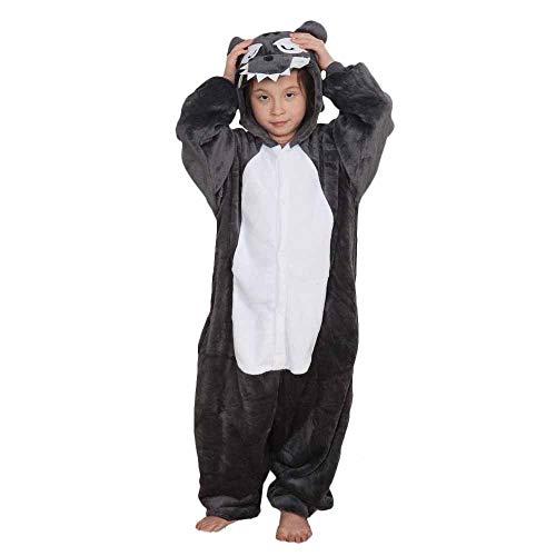Tickos Unisexo Niños Animal Onesies Gracioso Animal Pijama Pijama Halloween Disfraces Monos (120CM, Lobo)