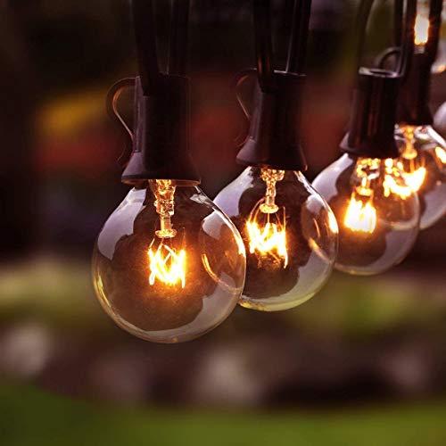 Lichterkette Außen, 30 Birnen + 5 Ersatzbirne G40 Lichterkette Glühbirne 11M/36FT Wasserdichte String Licht Garten Lichterkette für Innen Draussen, Party, Festival