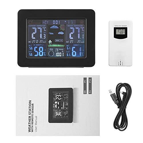 Draadloos weerstation, draadloos weerstation Digitale wekker Binnen Buitentemperatuur Vochtigheidsthermometer met externe sensorklok(Zwart)