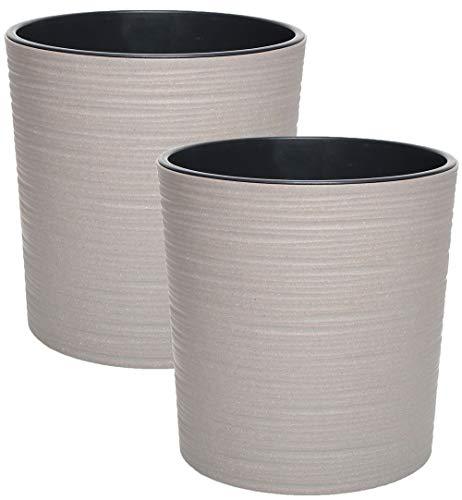 idea-station Eco macetas plastico 2 Piezas, 19 cm, Gris, 30% de Madera, Rondo, pequeñas, maceteros, jarrones, Decorativas, pequenas, Interior, Exterior, inastillable