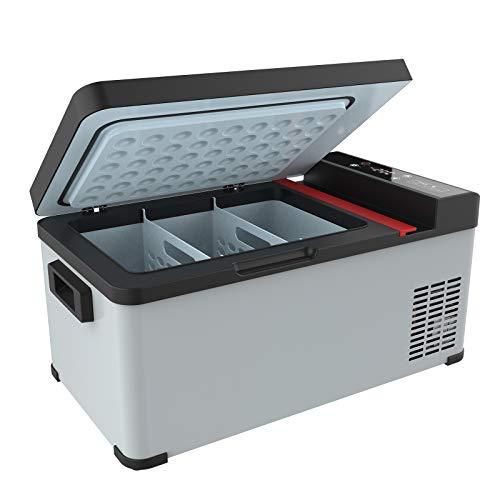 Advwin Portable Car Fridge 27 L Large Capacity Fridge Freezer for Car, Outdoor, Fishing and Home -12/24V DC, 240V AC, Grey