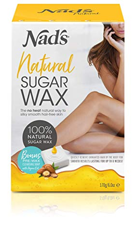 Nad's Sugar Wax Kit - Wax Hair Removal For Women - Body+Face Wax - All Skin Types - At Home Waxing Kit With 6 Oz Sugar Wax, Cleansing Soap, Wooden Spatula, Re-Usable Cotton Strips