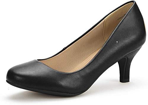 DREAM PAIRS Women's Luvly Black Pu Bridal Wedding Low Heel Pump Shoes - 8 M US