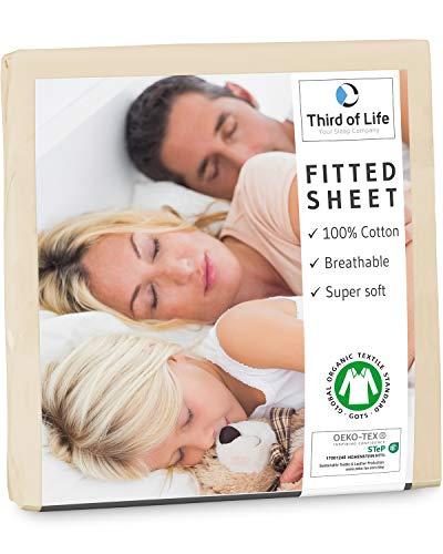 Third of Life Spannbettlaken 120x200 cm aus 100% Oekotex-Baumwolle, GOTS Zertifiziert I Das atmungsaktive & fusselfreie Bettlaken ALBA ist elastisch & weich I Designed in Germany I 20 cm Höhe, beige