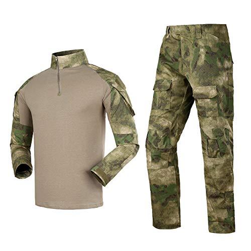 Men's Tactical Shirt and Combat Pants Set Long Sleeve 1/4 Zip T-Shirt Trousers for Military Hunting, Fg, Medium