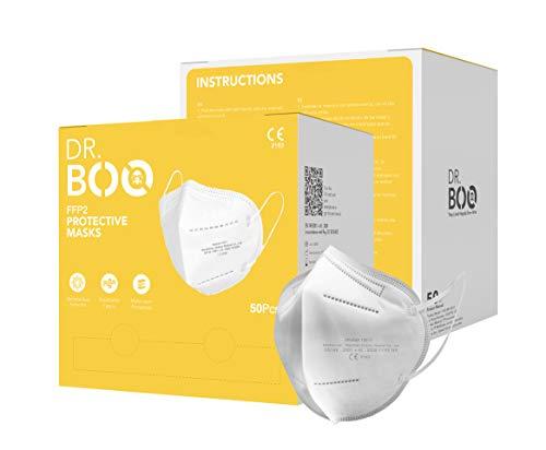 50 FFP2 Maske CE Zertifiziert mit EN 149:2001, Mund- und Nasenschutz 5 Lagige Masken ohne Ventil, Staub- und Partikelschutzmaske, Medizinische Schutzmaske mit Hoher BFE-Filtereffizienz ≥ 95, 50 Stück