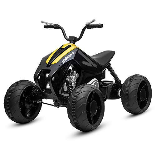 Kidzone Team 7 Kids Ride On ATV, Powerful 12V Battery Powered 45W Electric Vehicle 2 Speed W/Four Wheels Suspension Design, LED Headlight, MP3/USB Music Player, Yellow