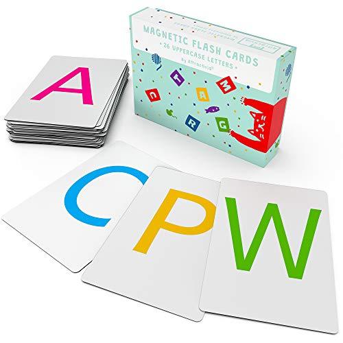 Attractivia Magnetic Alphabet ABC Flash Cards - 26 Uppercase Large Letters - for Homeschool, Teachers, Parents, ESL