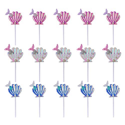 Toyvian 15Pcs Nautische Muschel Kuchen Topper Meerjungfrau Cupcake Topper Nautische Küsten Meerjungfrau Thema Geburtstag Hochzeit Babyparty Kuchen Dekorationen