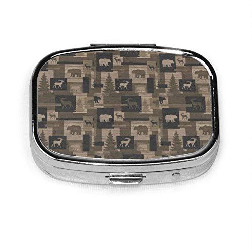 Pillendose - Pillendose mit Fächern, quadratische Pillendose, kann für Geldbörse verwendet werden, Reise-Pillendose Antiker Holzbär M.