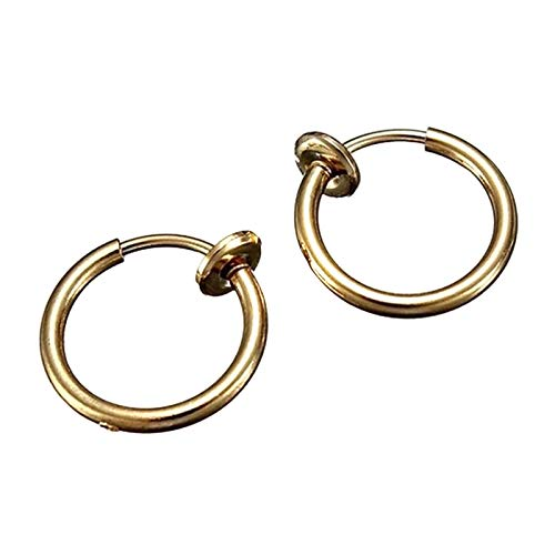 Goutui Pendientes de aro falsos pendientes retráctiles de acero inoxidable clips de oreja sin pendientes perforados joyería