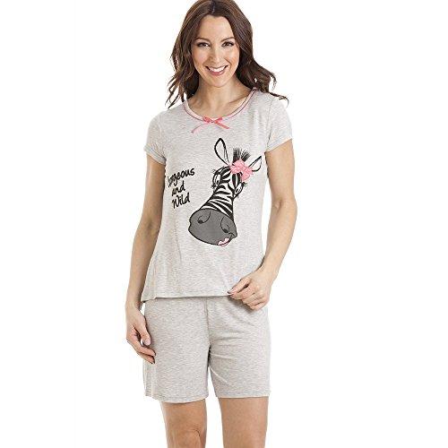 Pijama con pantalón Corto y Camiseta de Manga Corta - Motivo Cebra - Gris 38/40