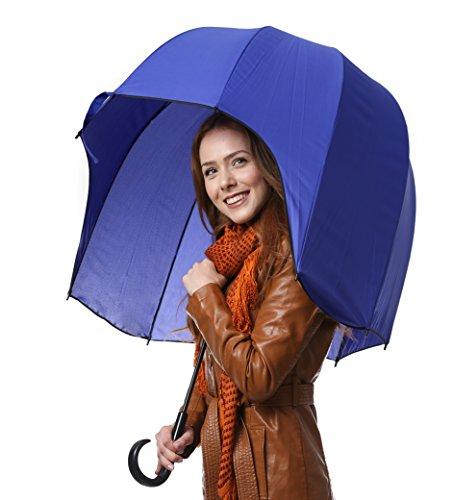 CloudTen Helmförmiger Regenschirm, blauer Kuppelschirm, winddichter Kuppelschirm, starker Blasenschirm