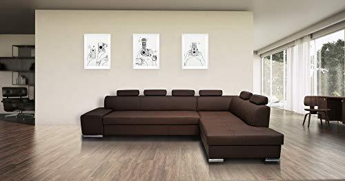 Quattro Meble Braunes Echtleder Ecksofa London PIK 6z 300 x 200 Sofa Couch mit Schlaffunktion, Bettkasten und Kopfstützen Echt Leder Eck Couch große Farbauswahl (Ecke Rechts)