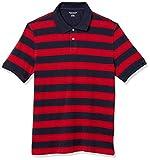 Amazon Essentials Men's Regular-Fit Cotton Pique Polo, -Red/Navy Rugby Stripe, Medium