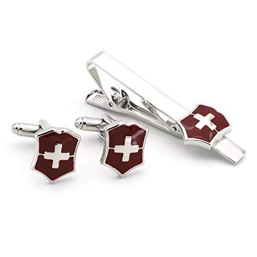 Rotes Kreuz Rotes Kreuz Schweizer Taschenmesser Manschettenknopf Krawattenklammer Set Herrenschmuck Geschenk Französischer Knopf