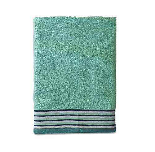 Exotic Cotton Toalla de Ducha de 70 cm x 140 cm - Toalla de Baño Algodón 100% de Rizo Americano - 1 Toalla de Ducha con Diseño Bordado - Tacto Suave y sin Pérdida de Color - Toalla Verde Claro