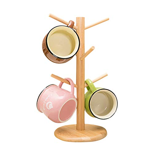 Árbol de bambú para tazas, soporte para tazas, soporte para tazas de café con 6 ganchos, soporte para tazas de café para mostrador, estante para tazas de café, árbol organizador de joyas
