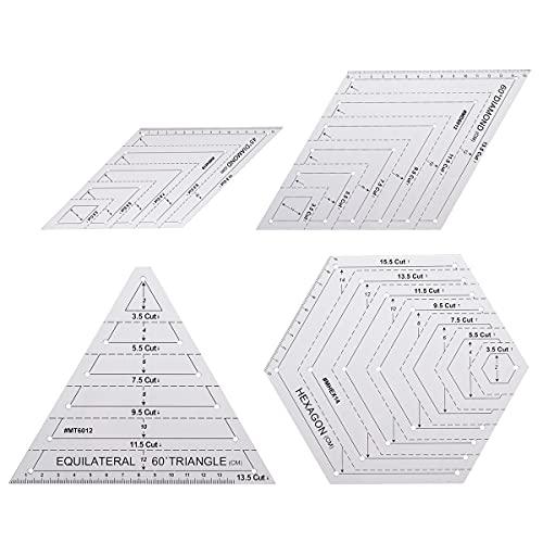 LITOSM Reglas Patchwork 4pcs / Set Triangle Diamante Hexagon shilitar stiling Stencil Set Bricolaje Craft de Patchwork para acolchar papelería de Papel y Costura